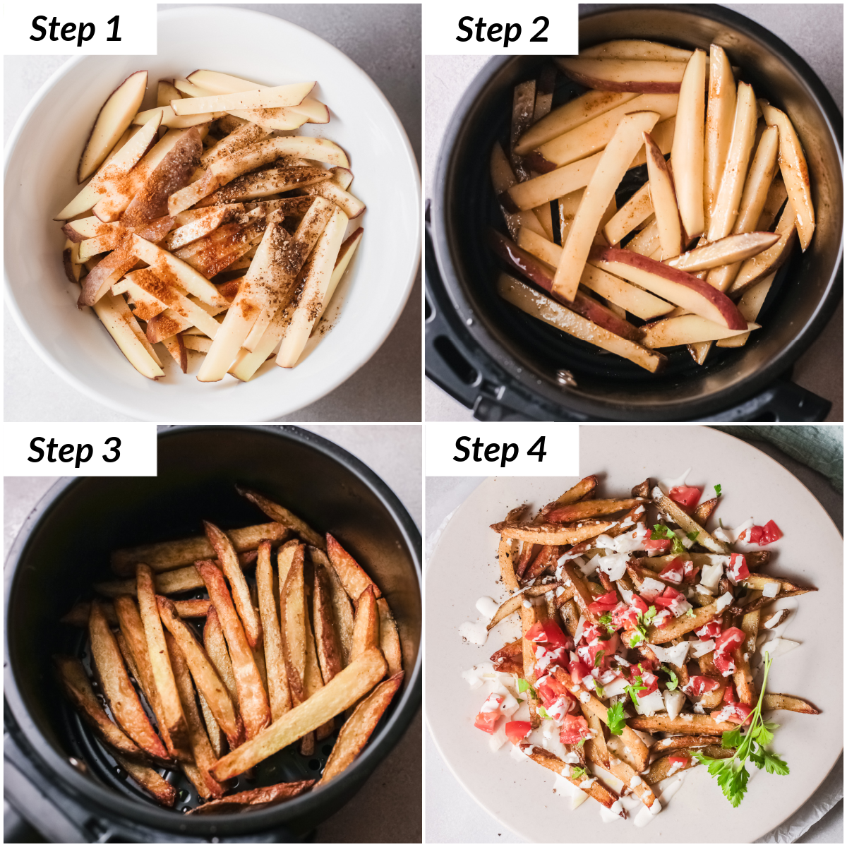 image collage showing the steps for making air fryer greek fries