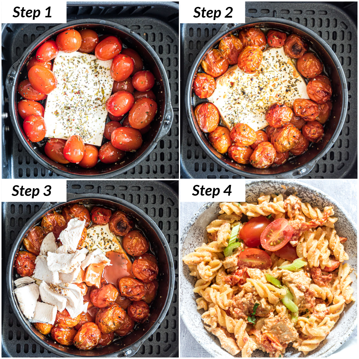 image collage showing the steps for making air fryer baked feta pasta with buffalo chicken
