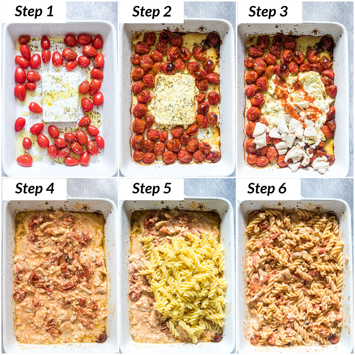 image collage showing the steps for making baked feta pasta with buffalo chicken