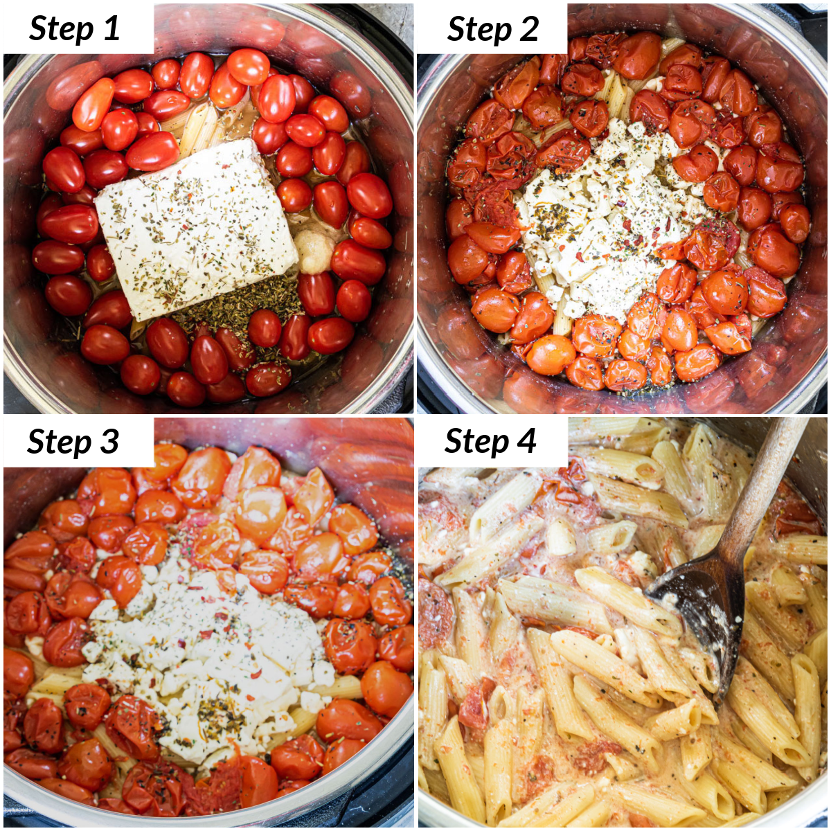 image collage showing the steps for making instant pot baked feta pasta with buffalo chicken