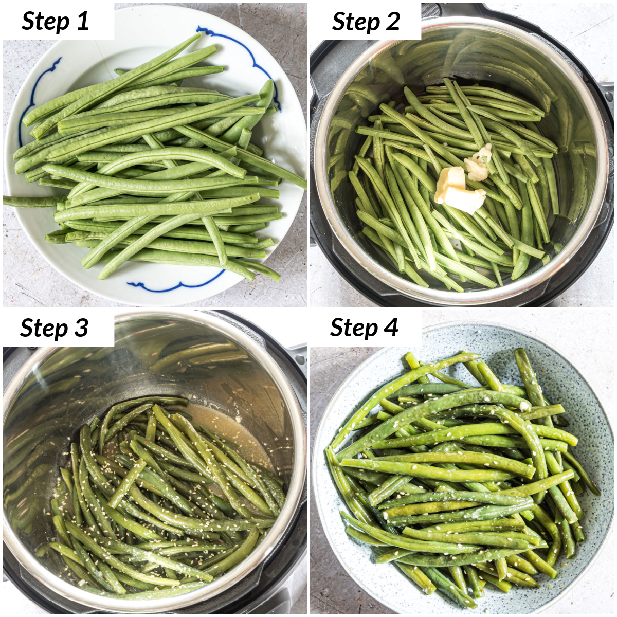 image collage showing the steps for making sesame garlic instant pot green beans