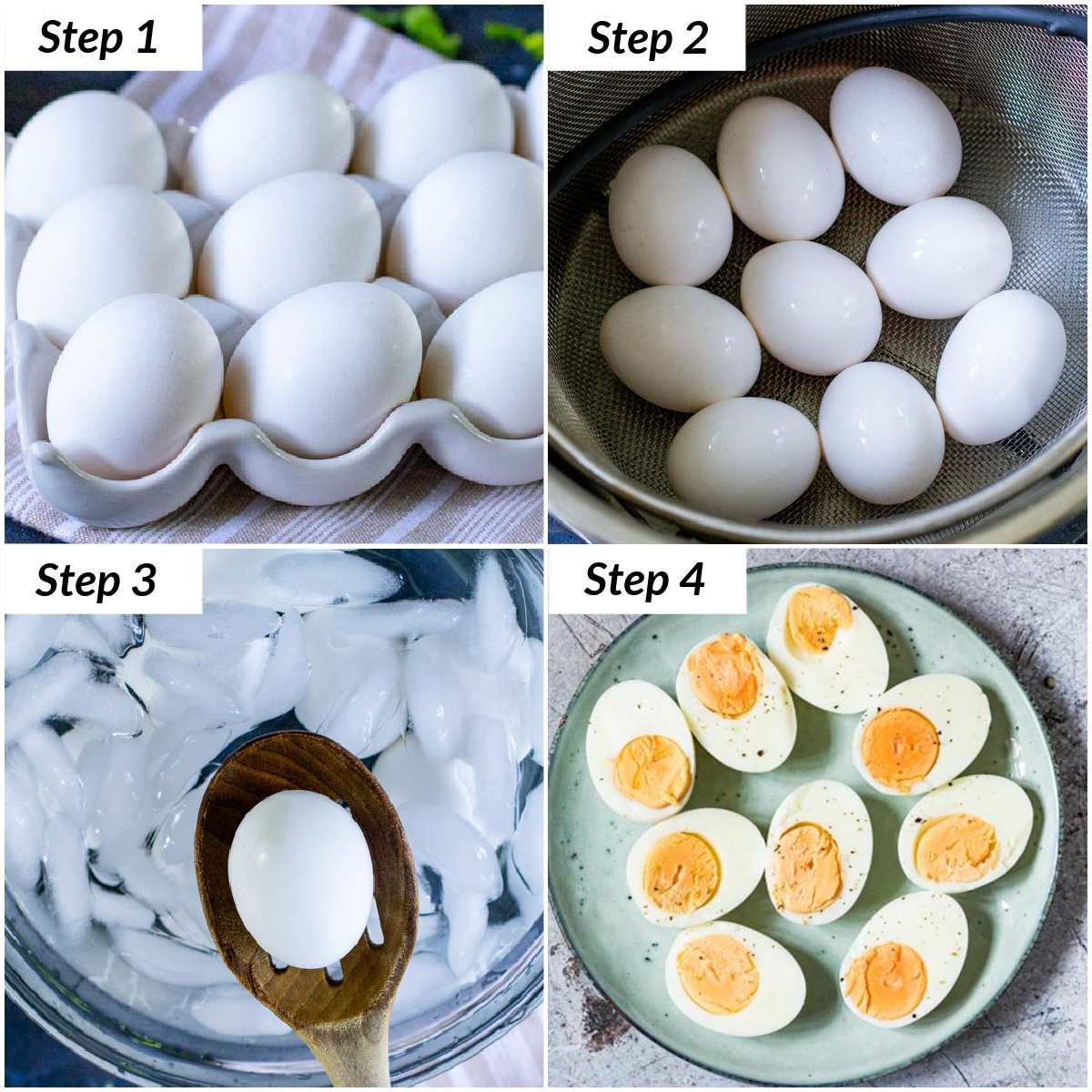 image collage showing the steps for making instant pot hard boiled eggs
