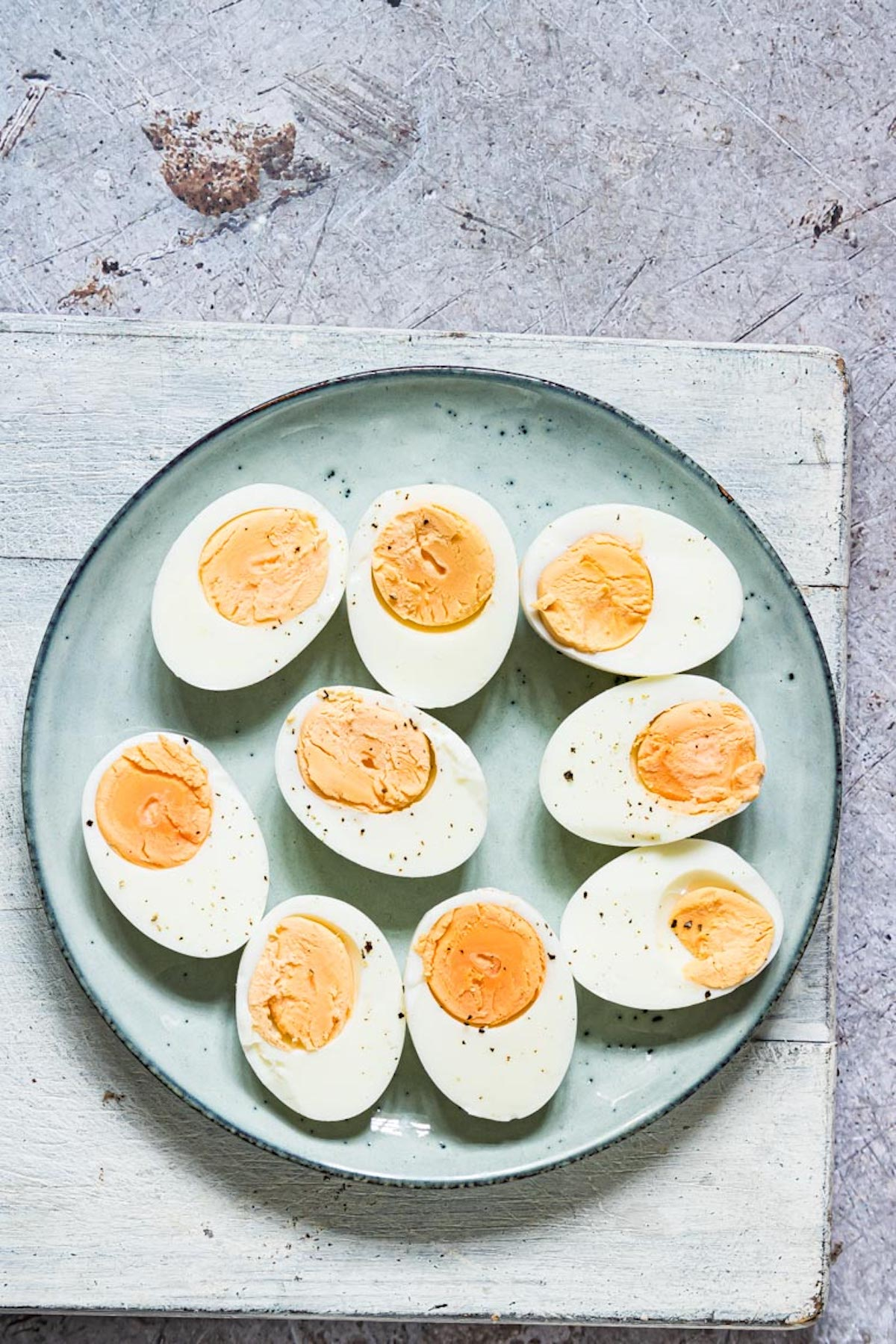 top down view of the completed instant pot hard boiled eggs recipe