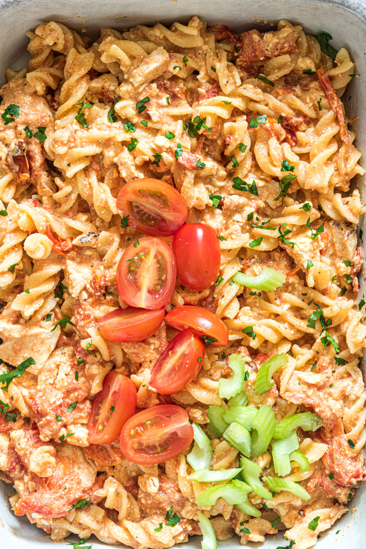 close up view of the buffalo chicken baked feta pasta