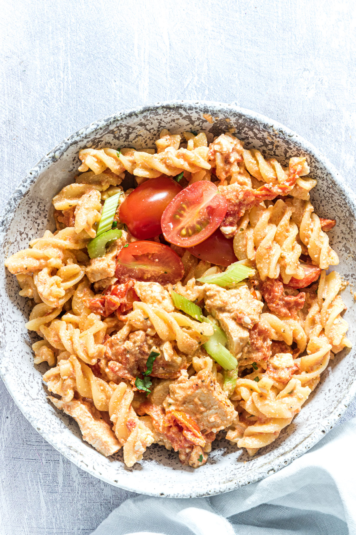 a bowl of the finished buffalo chicken pasta recipe