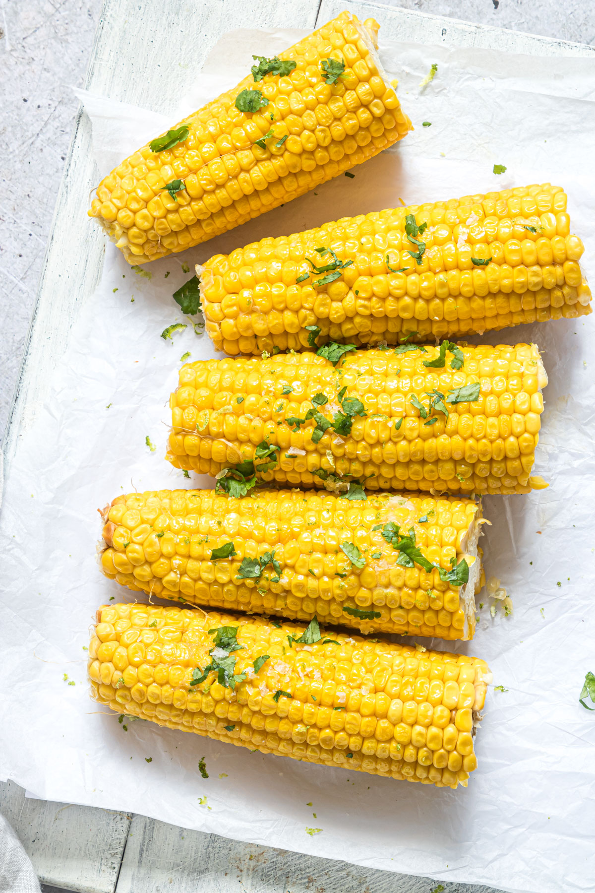 top down view of the completed instant pot corn on the cob recipe