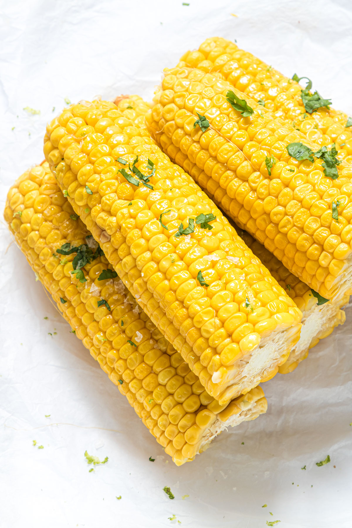 the finished instant pot corn on the cob ready to be served