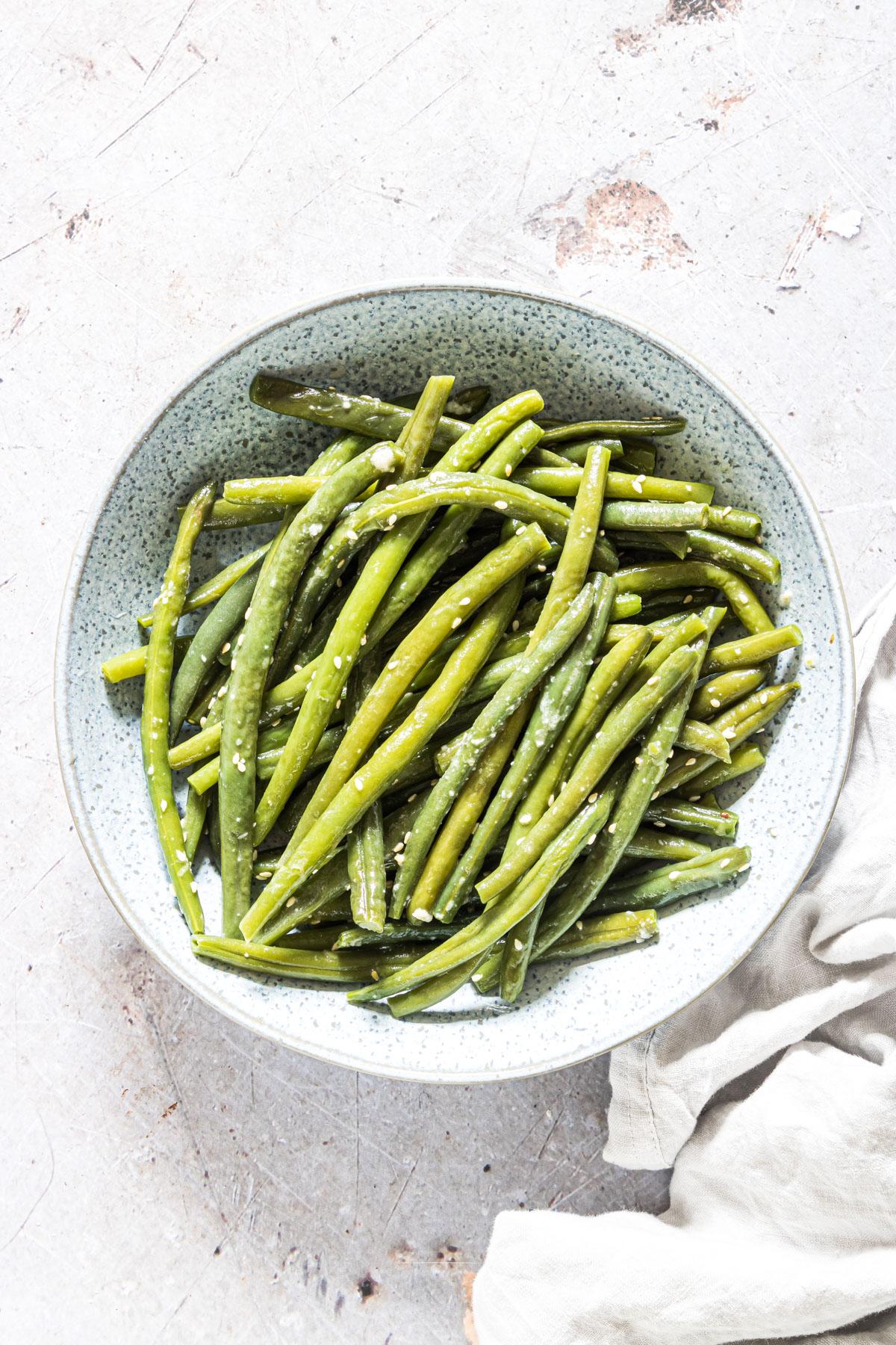 one serving of sesame garlic butter pressure cooker green beans