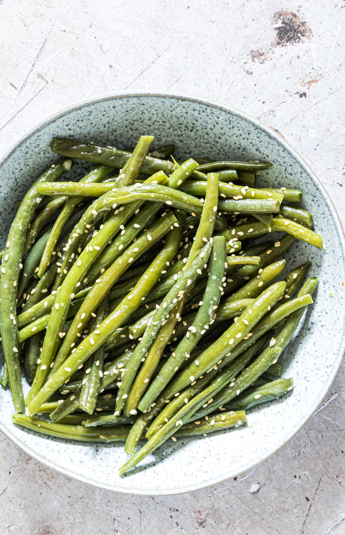 close up view of the completed sesame green beans instant pot recipe