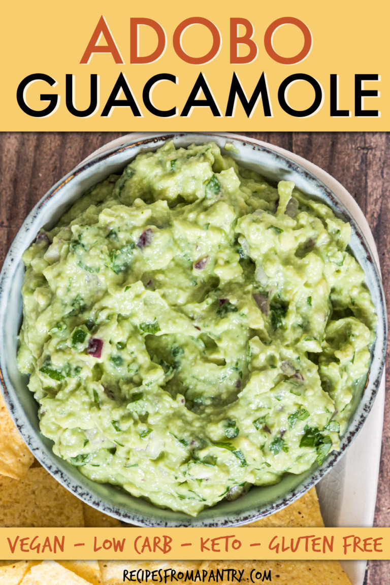 close up of a bowl of guacamole