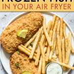 BREADED FISH ON A PLATE WITH FRENCH FRIES
