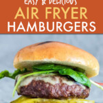 A COLLAGE OF PICTURES OF A BURGER BEING MADE IN AN AIR FRYER