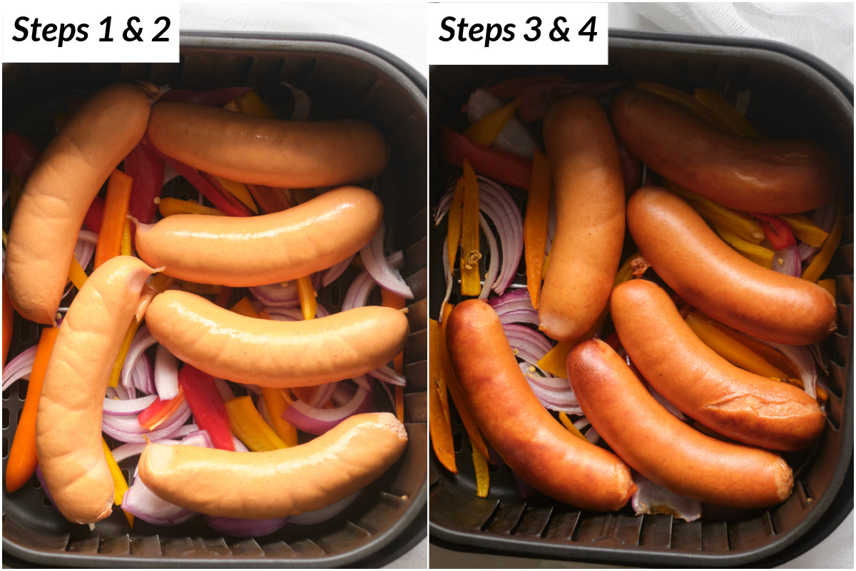 image collage showing the steps for making air fryer brats