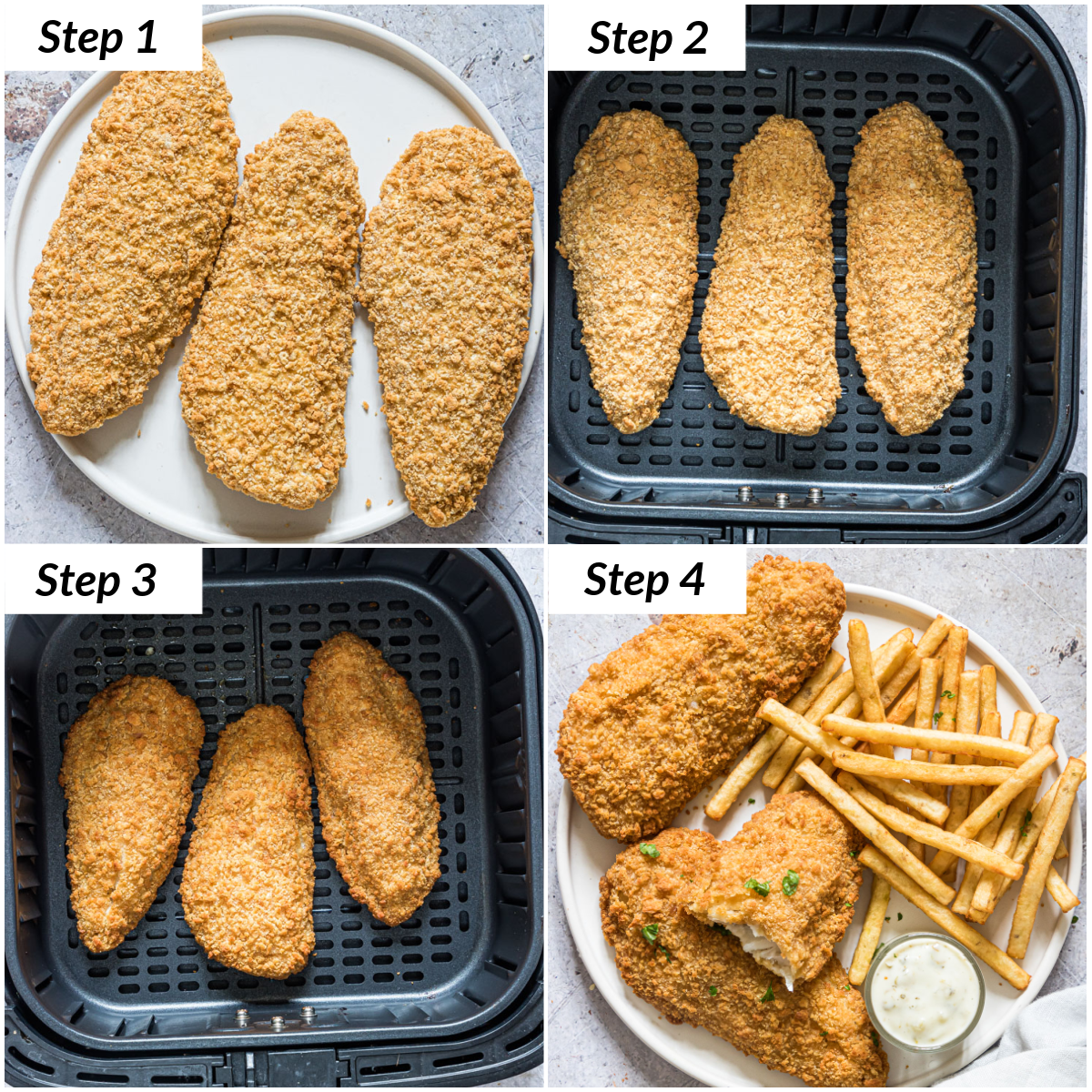 image collage showing the steps for making frozen fish fillets in air fryer