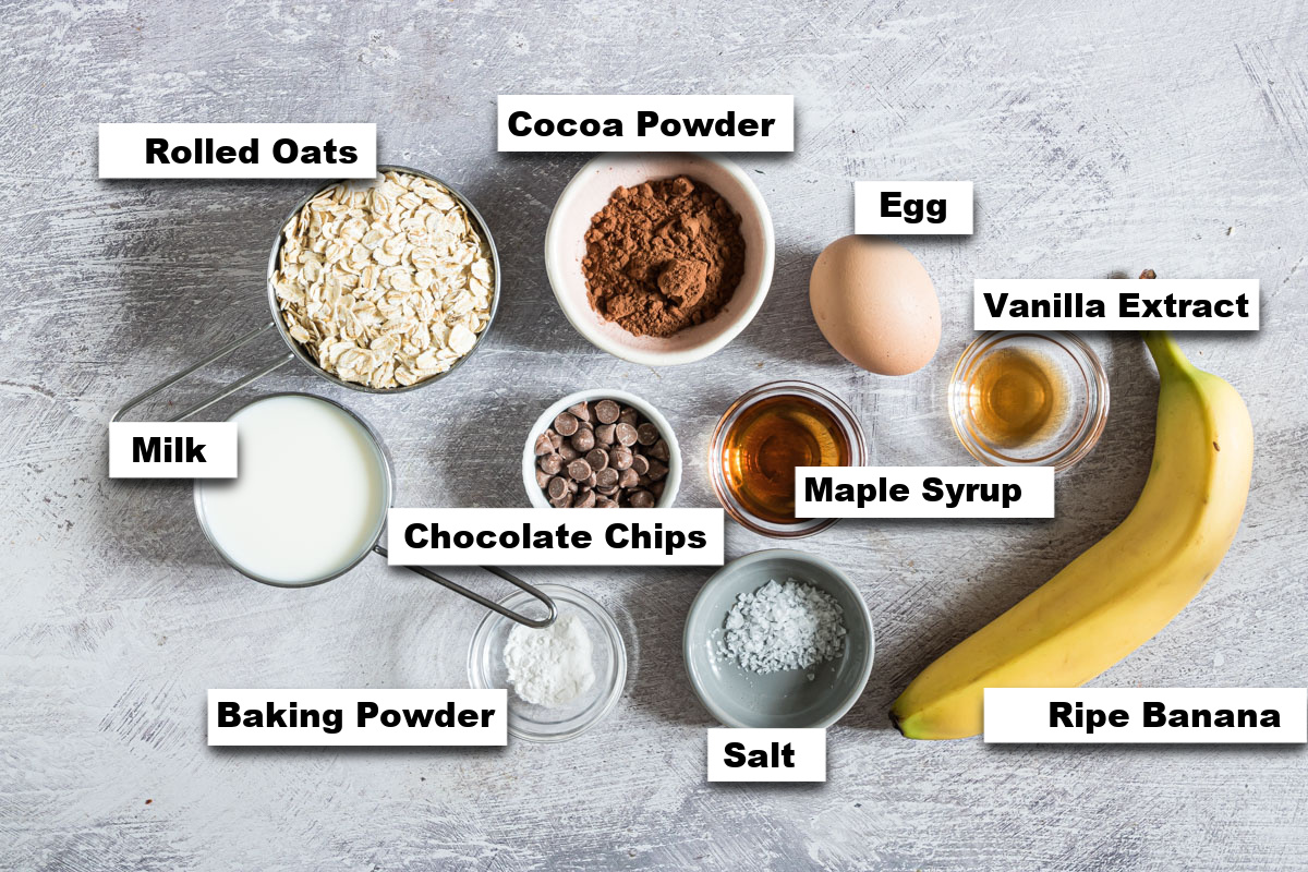 the ingredients needed for making chocolate baked oats