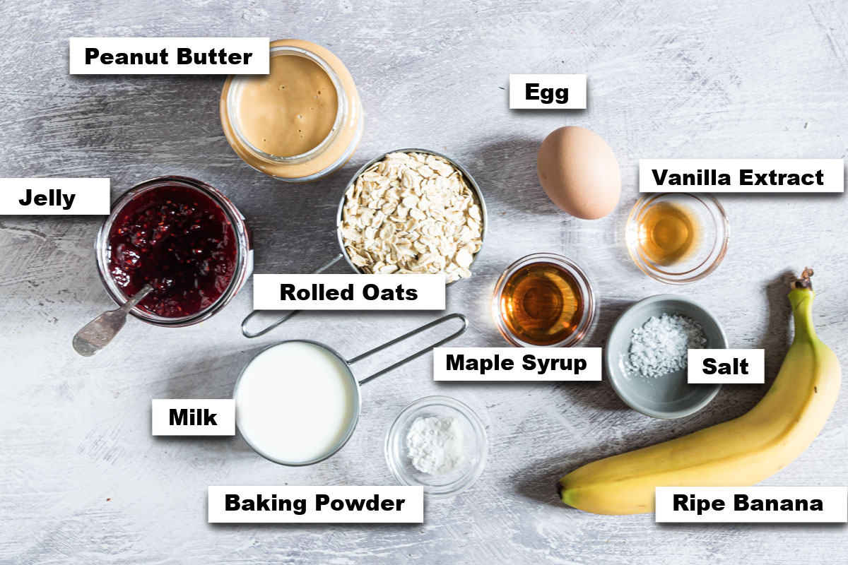 the ingredients needed for making peanut butter and jelly baked oats