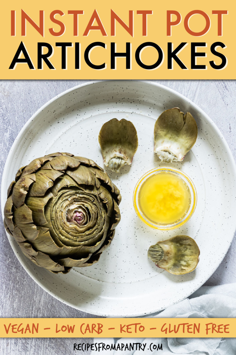 an artichoke on a plate with a dish of melted butter