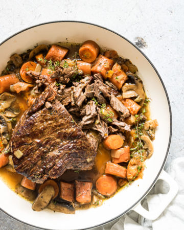 instant pot pot roast and vegetable in a pot
