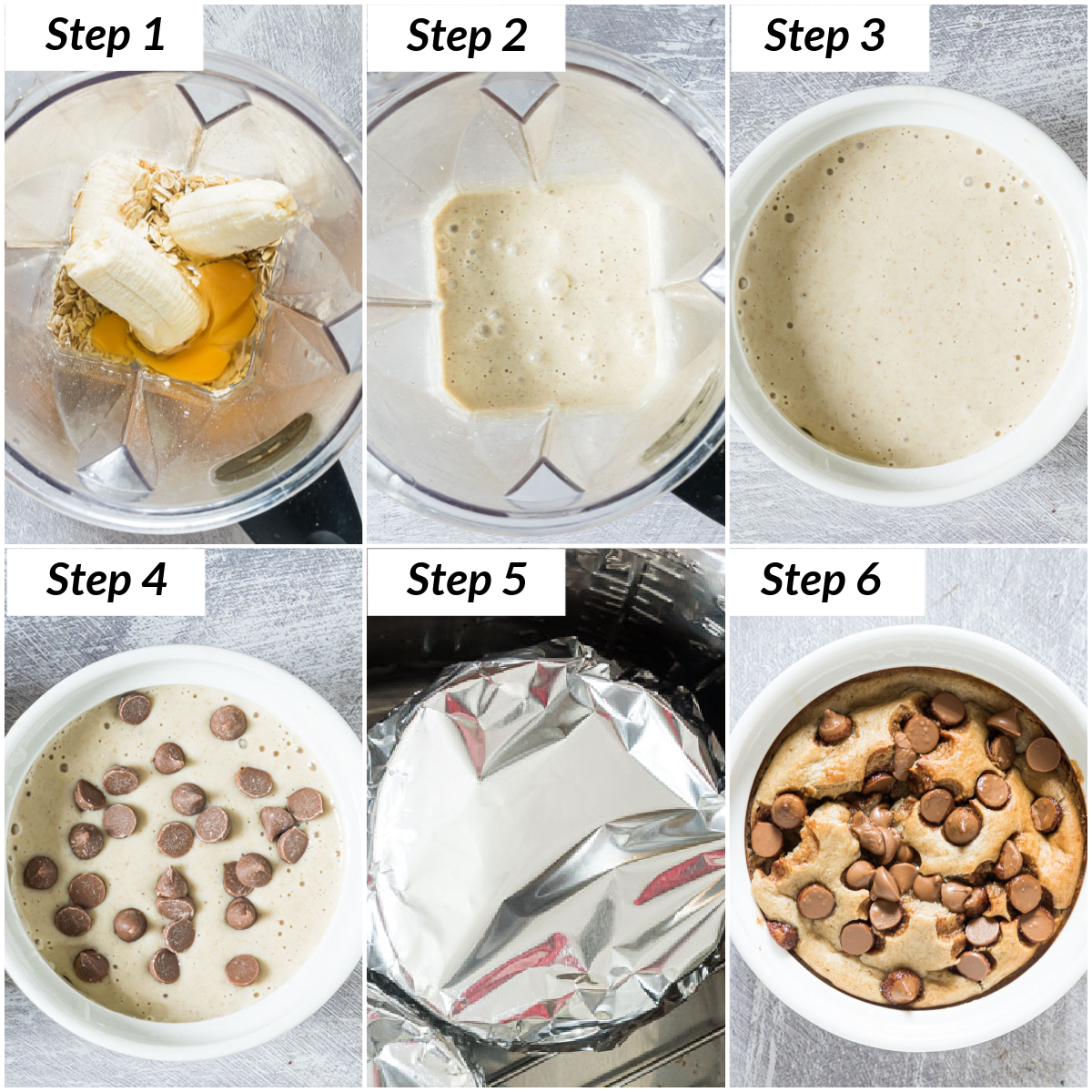 image collage showing the steps for making tiktok baked oats