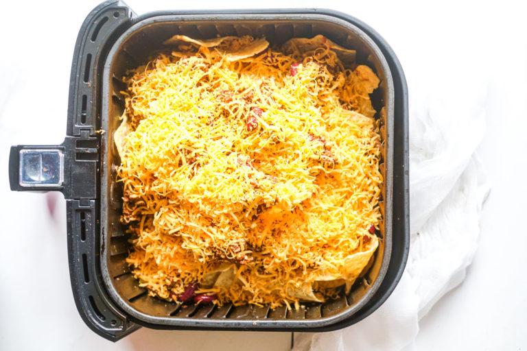 Air Fried Nachos ingredients in an air fryer basket