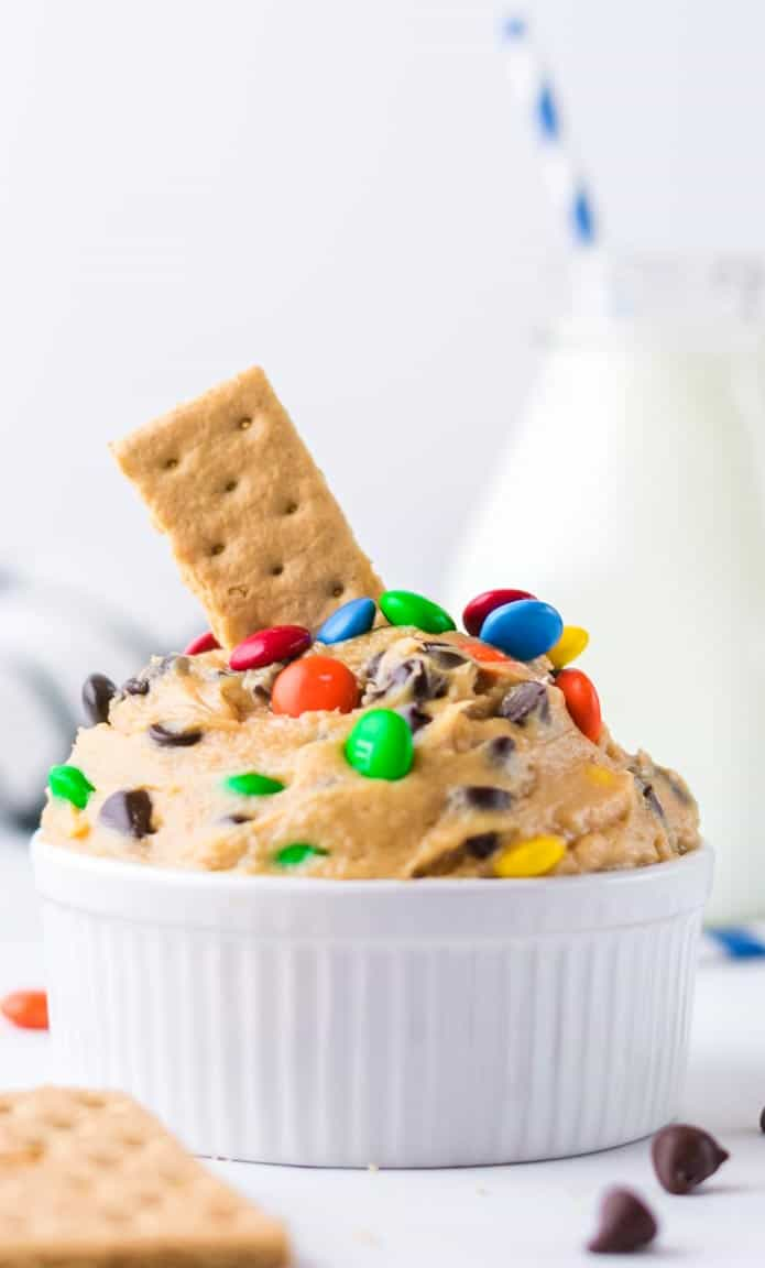 Close up of a colourful chocolate chip cookie dough dip