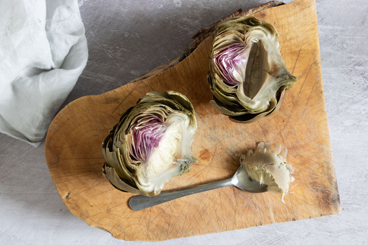 artichoke divided into 2 with a stew bit