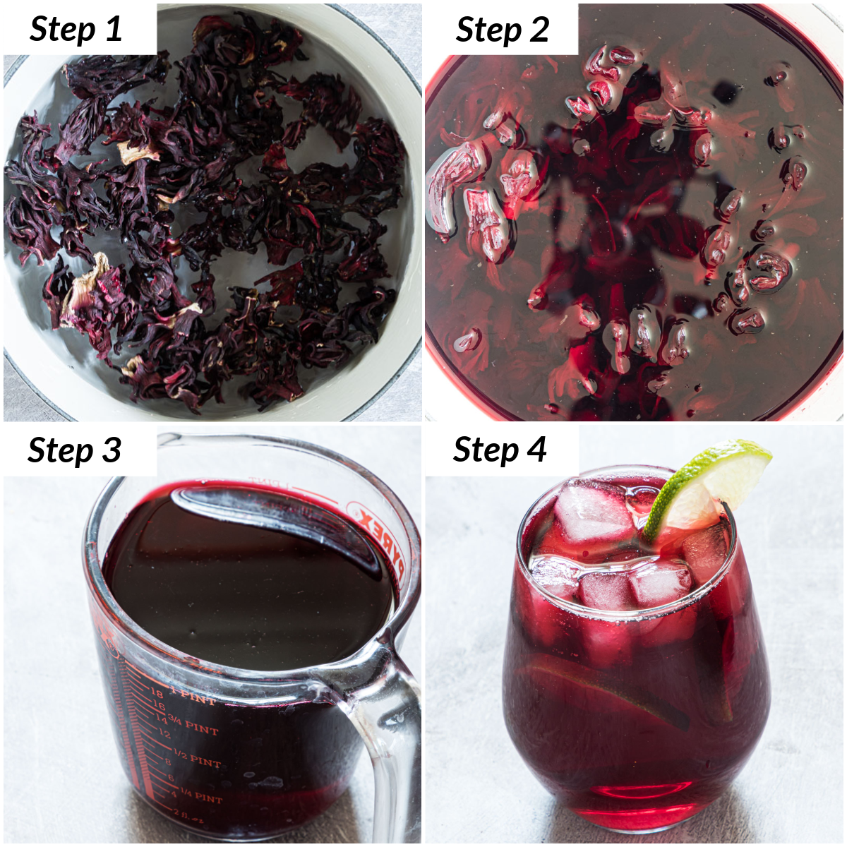 image collage showing the steps for making agua de jamaica hibiscus iced tea