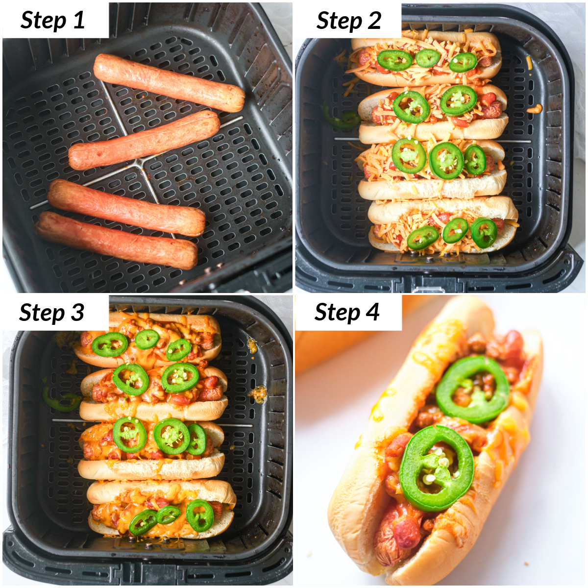 image collage showing the steps for making air fryer chili cheese dogs
