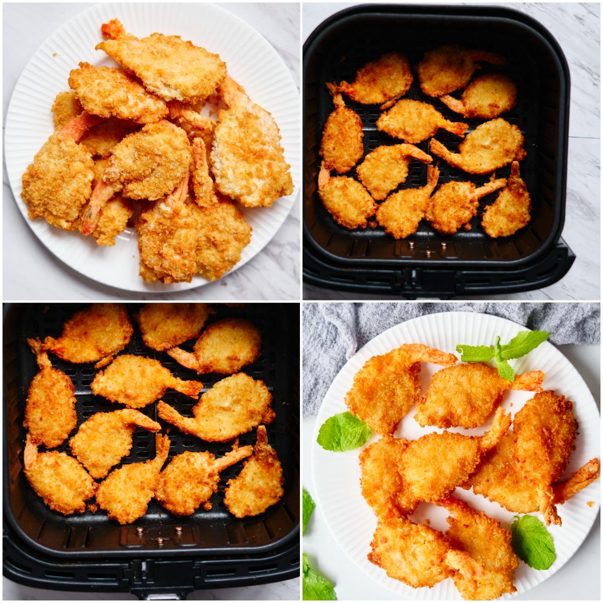 image collage showing the steps for making air fryer frozen shrimp