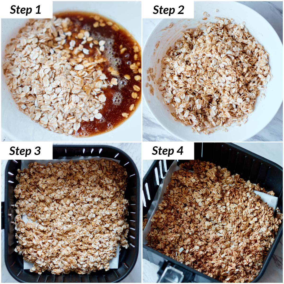image collage showing the steps for making granola in air fryer