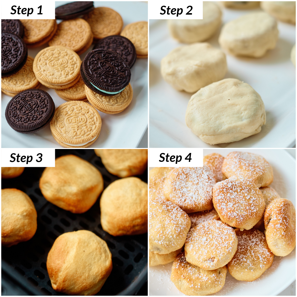 image collage showing the steps for making fried oreos in air fryer