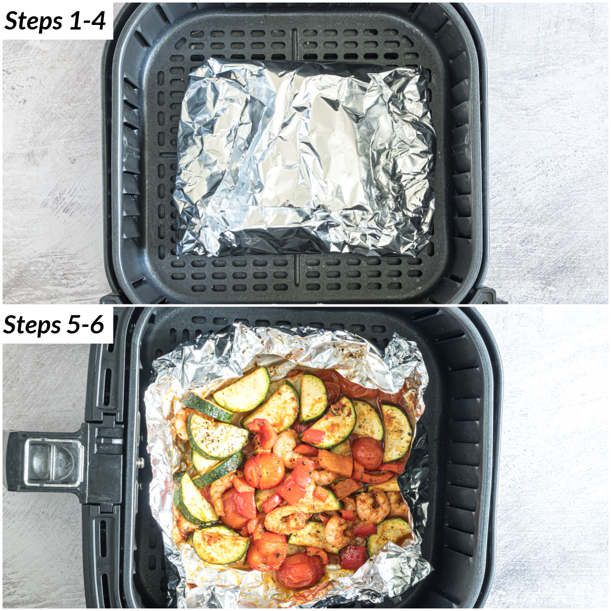 image collage showing the steps for making shrimp foil packets in air fryer