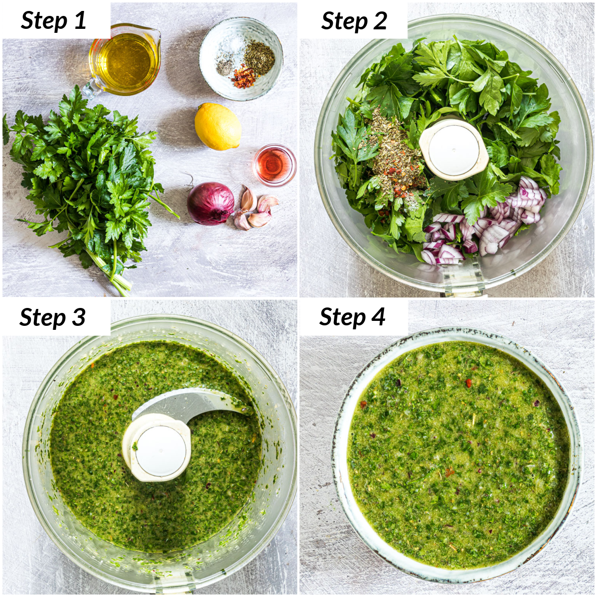 image collage showing the steps for making Chimichurri sauce