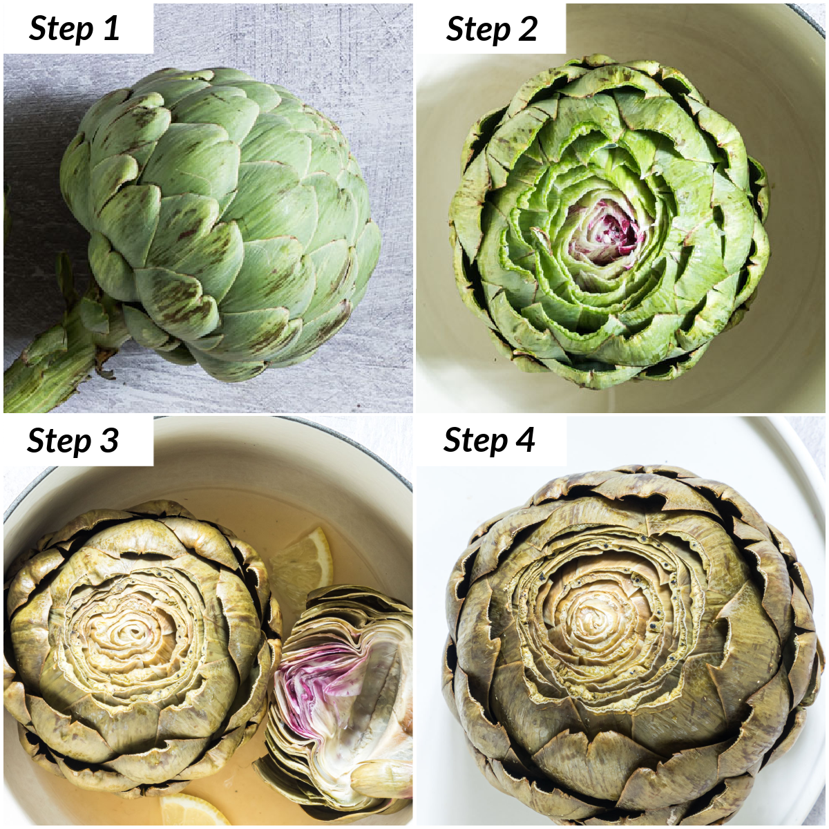 image collage showing the steps involved in learning how to steam artichokes