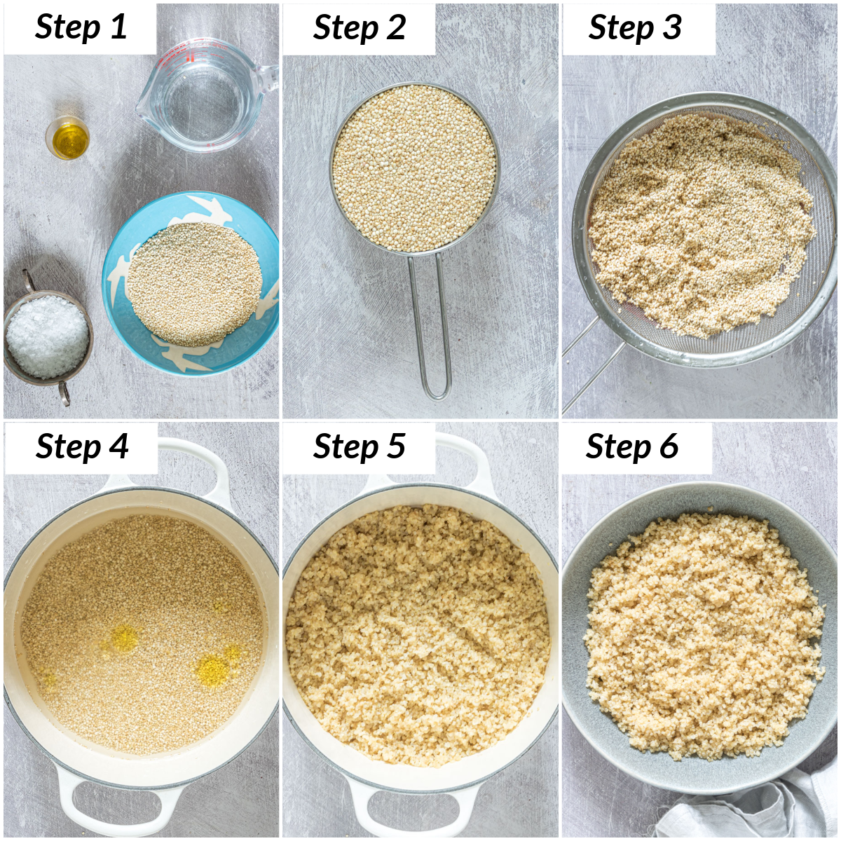 image collage showing the steps for learning how to cook quinoa