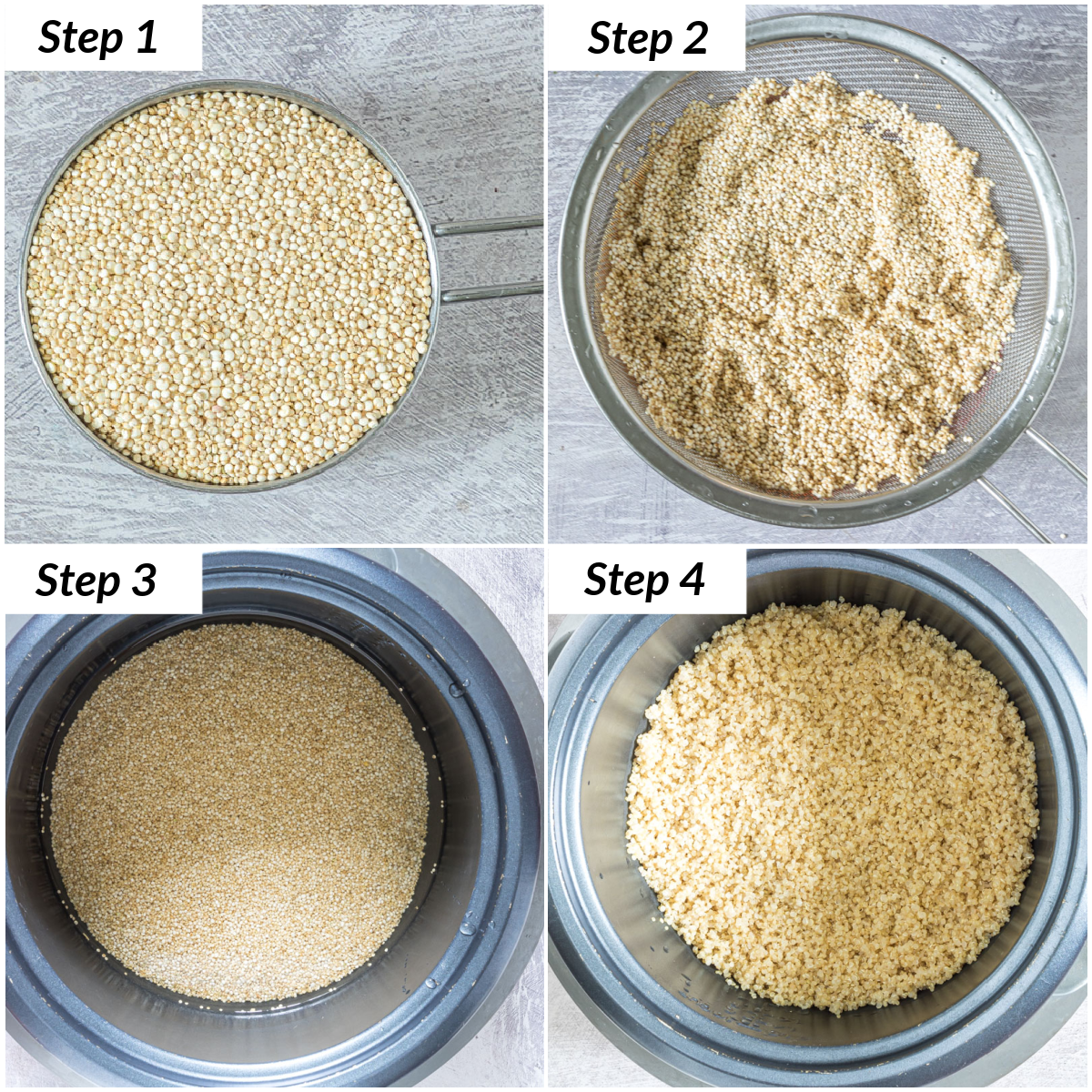image collage showing the steps for how to cook quinoa in rice cooker