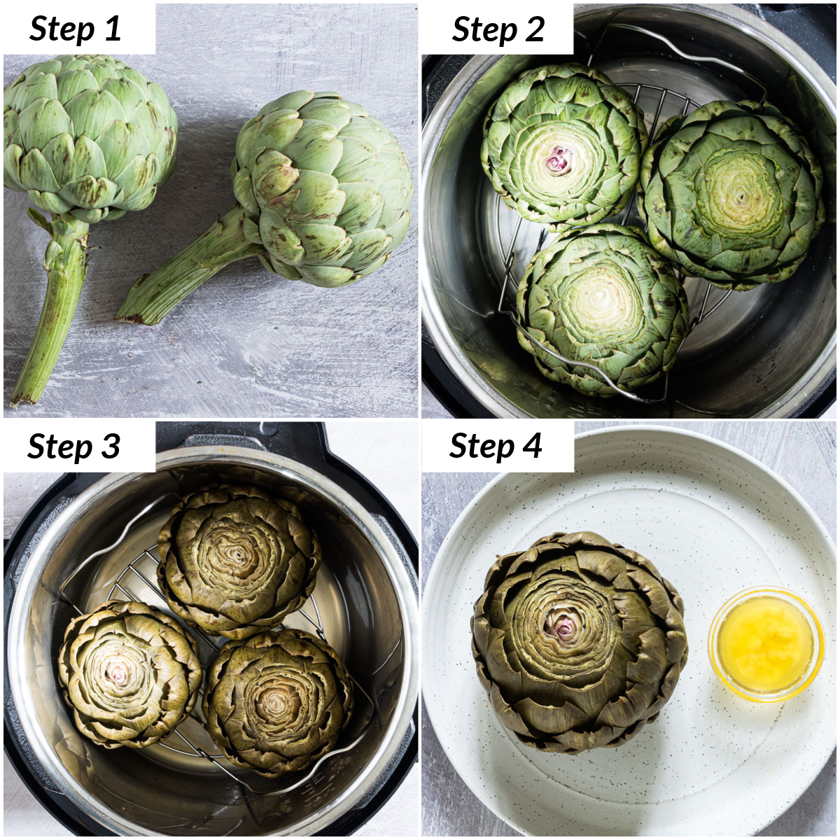 image collage showing the steps for making instant pot artichokes
