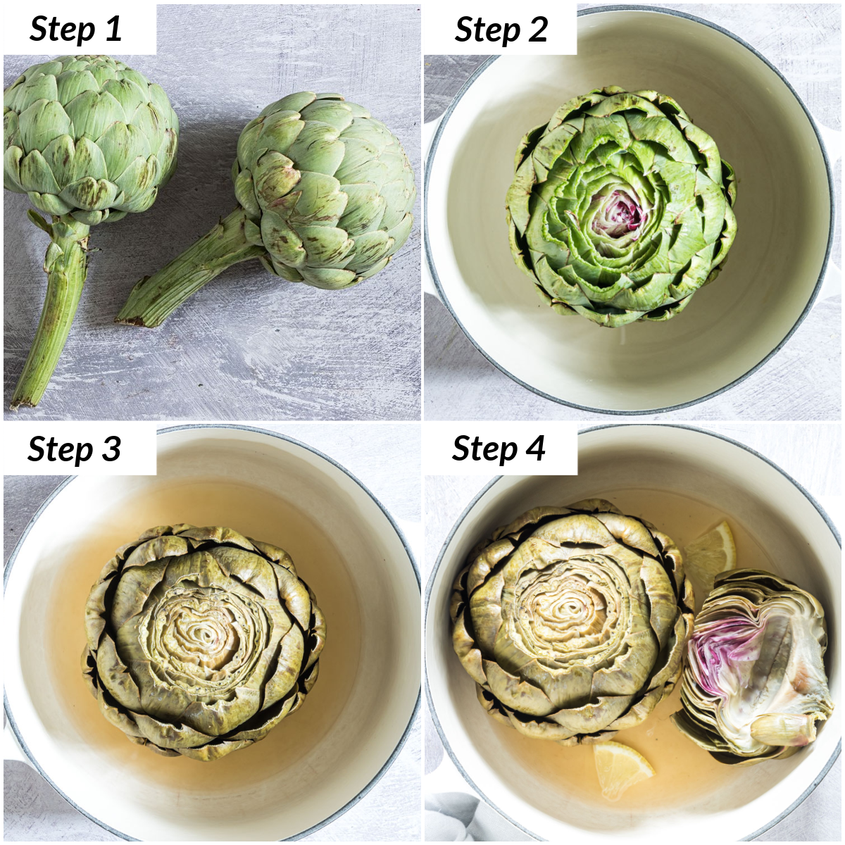 image collage showing how to cook artichokes on the stovetop