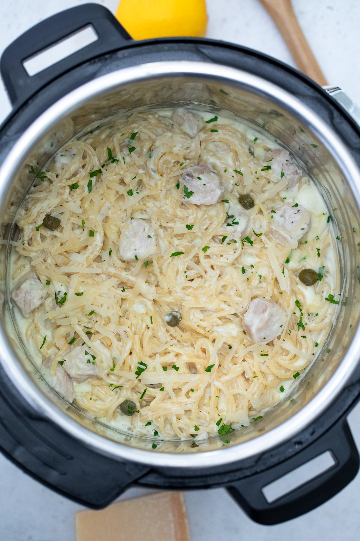 top down view of the chicken alfredo instant pot