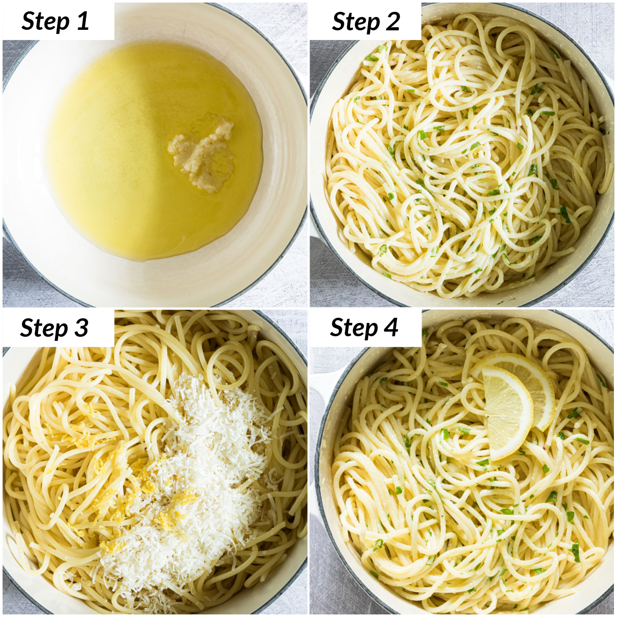 image collage showing the steps for making lemon pasta
