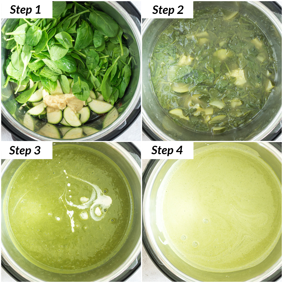 image collage showing the steps for making instant pot spinach soup