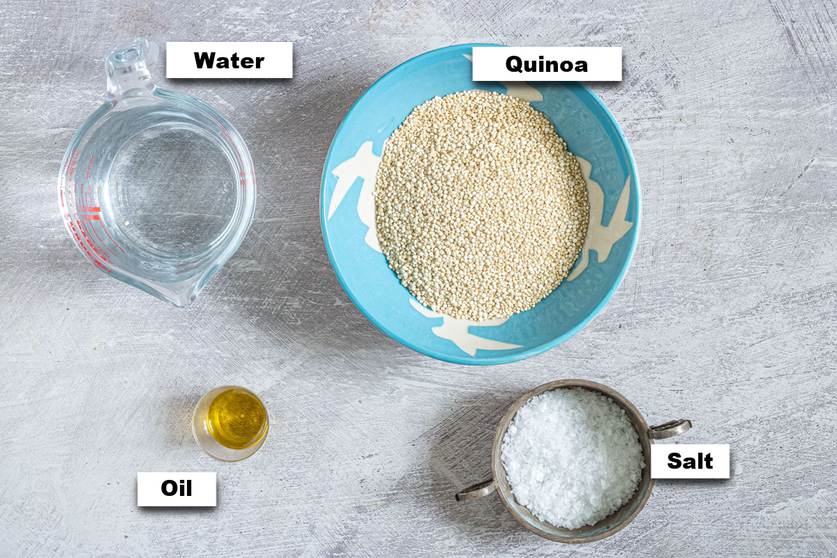 the ingredients needed to learn how to cook quinoa in rice cooker