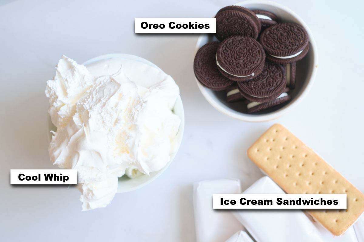 the ingredients needed for making ice cream sandwich cake