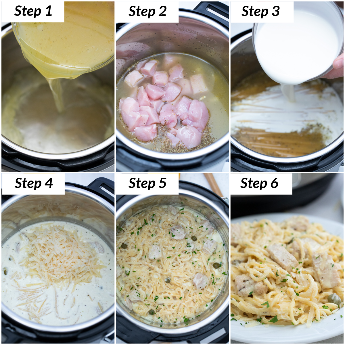 image collage showing the steps for making instant pot chicken alfredo