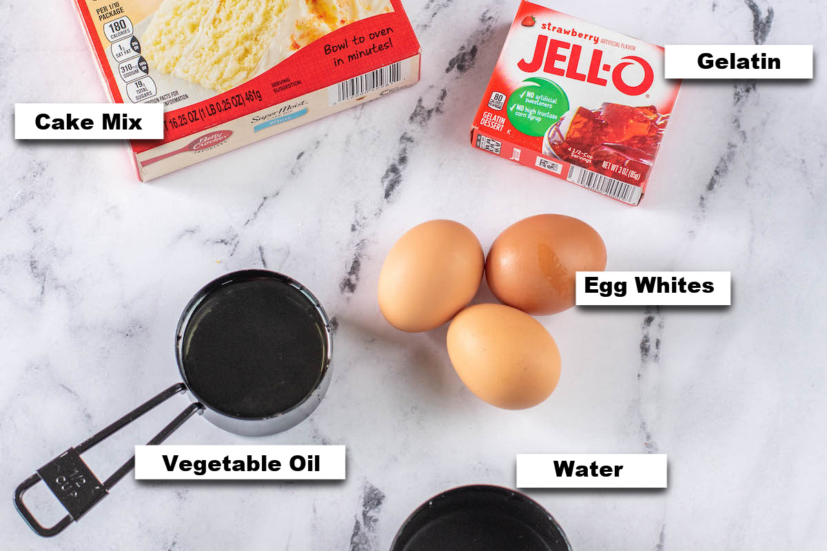 the ingredients needed for making strawberry poke cake