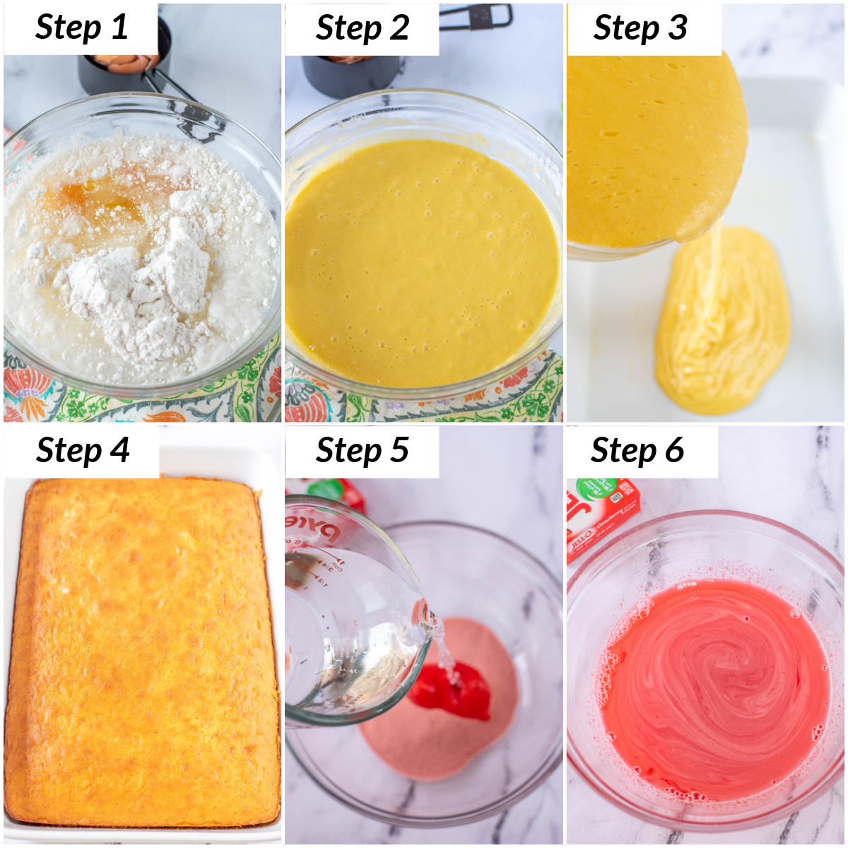 image collage showing the first steps for making strawberry poke cake