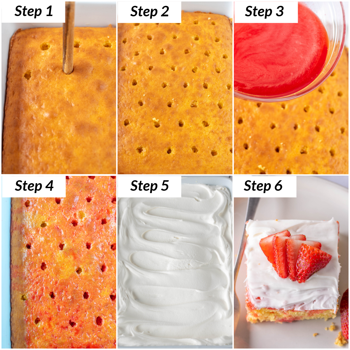 image collage showing the final steps for making strawberry poke cake