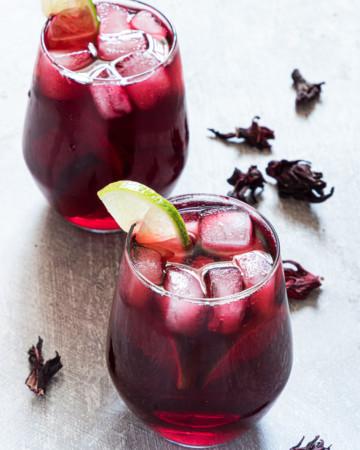 two glasses of Agua De Jamaica