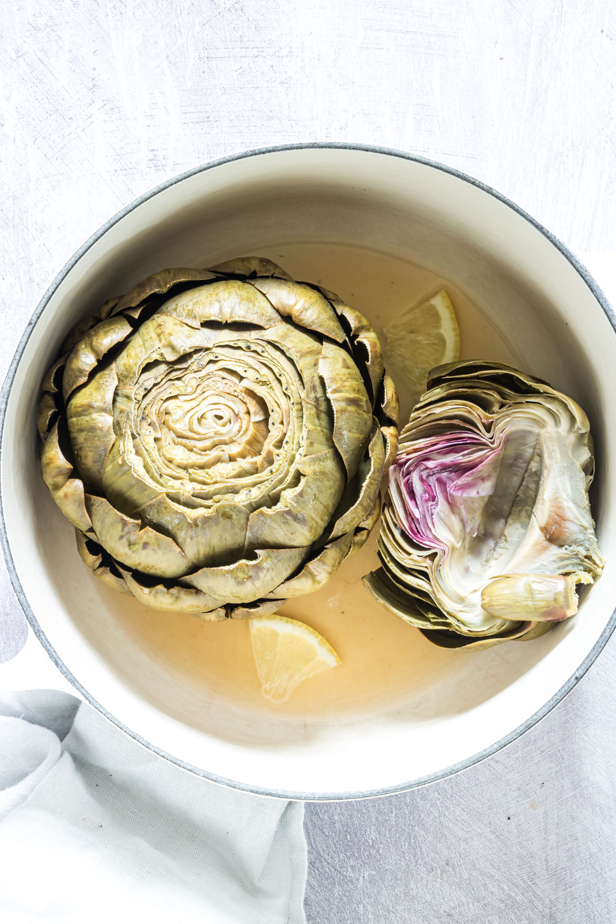 top down view of the completed how to cook artichokes recipe