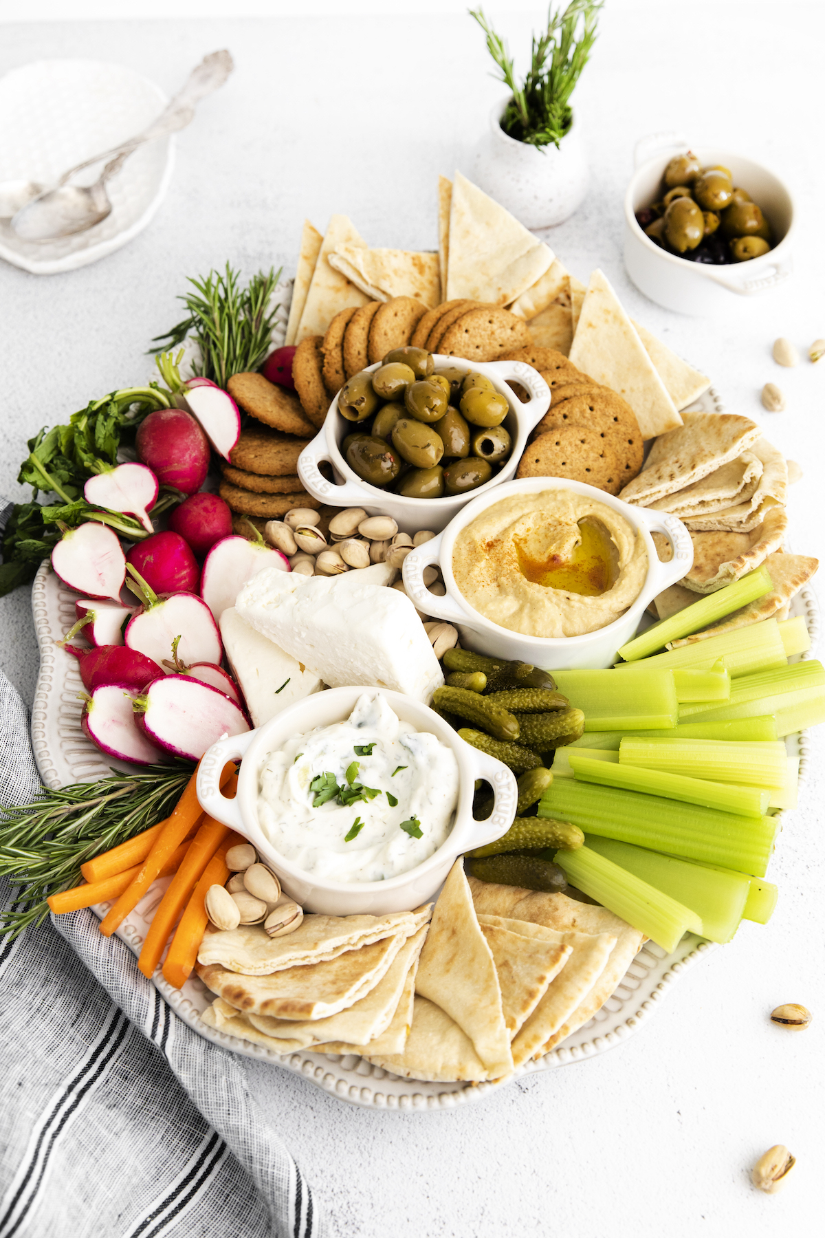 the completed mezze board served on a white table
